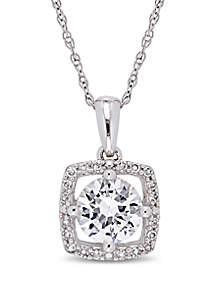 1 ct. t.w. Created White Sapphire and 0.1 ct. t.w. Diamond Floating Halo Pendant with Chain in 10K White Gold