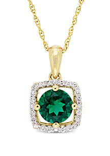 0.8 ct. t.w. Created Emerald and 0.1 ct. t.w. Diamond Floating Halo Pendant with Chain in 10K Yellow Gold