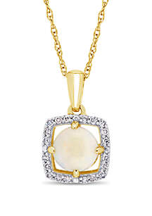 5/8 ct. t.w. Opal and 1/10 ct. t.w. Diamond Floating Halo Pendant Necklace with Chain in 10k Yellow Gold