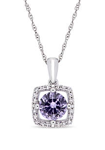 1 ct. t.w. Created Alexandrite and 1/10 ct. t.w. Diamond Floating Halo Pendant Necklace with Chain in 10k White Gold