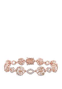 12.5 ct. t.w. Morganite, White Sapphire & 1.25 ct. t.w Diamond Flower Bracelet in 14k Rose Gold