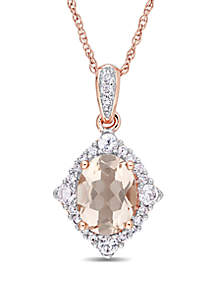1.3 ct. t.w. Morganite, White Sapphire and 1/10 ct. t.w. Diamond Vintage Pendant with Chain in 10k Rose Gold
