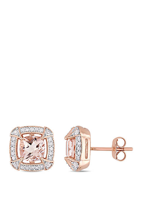 2.06 ct. t.w. Morganite, Created White Sapphire and 1/5 ct. t.w. Diamond Halo Earrings in 10k Rose Gold
