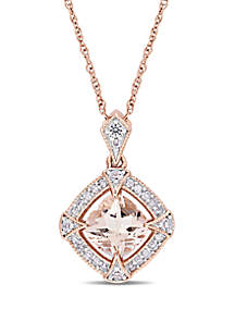 1 ct. t.w. Morganite, Created White Sapphire and 1/10 ct. t.w. Diamond Halo Pendant with Chain in 10k Rose Gold