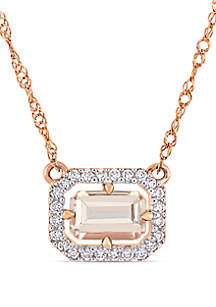 3/5 ct. t.w. Morganite and 1/10 ct. t.w. Diamond Floating Halo Necklace in 14k Rose Gold