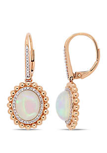 5 1/2 ct. t.w. Oval-Cut Ethiopian Blue-Hued Opal and 1/4 ct. t.w. Diamond Double Halo Earrings in 14k Rose Gold