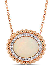 5 ct. t.w. Oval-Cut Ethiopian Blue-Hued Opal and 1/4 ct. t.w. Diamond Necklace in 14k Rose Gold