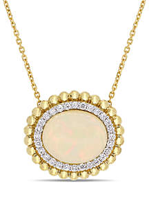 3 1/2 ct. t.w. Oval-Cut Ethiopian Opal and 1/4 ct. t.w. Diamond Necklace in 14k Yellow Gold