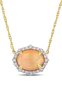 3/4 ct. t.w. Ethiopian Opal and 1/10 ct. t.w. Diamond Halo Necklace 10k Yellow Gold
