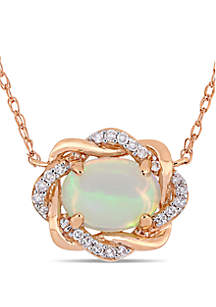 3/4 ct. t.w. Ethiopian Blue Opal and 1/10 ct. t.w. Diamond Interlaced Halo Necklace 10k Rose Gold