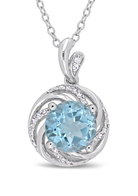 2.5 ct. t.w. Blue and White Topaz and 1/10 ct. t.w. White Diamond Accent Swirl Pendant with Chain in Sterling Silver