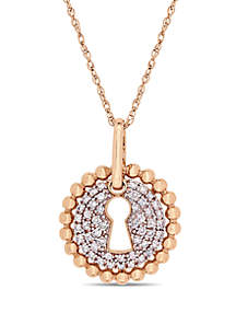 1/5 ct. t.w. Diamond Cluster Keyhole Pendant with Chain in 10k Rose Gold