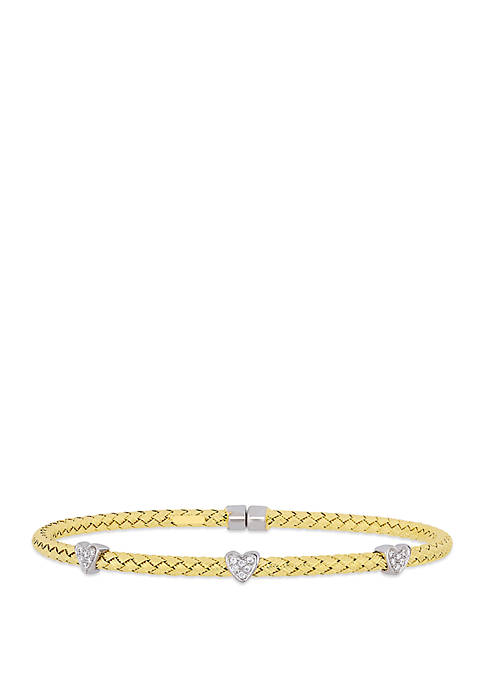 0.07 ct. t.w. Diamond Station Bangle in 14k Yellow Gold