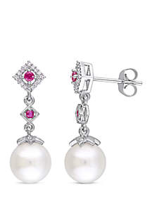 8.5 mm-9 mm Cultured Freshwater Pearl, 1/7 ct. t.w. Ruby and 1/10 ct. t.w. Diamond Drop Earrings in 10k White Gold