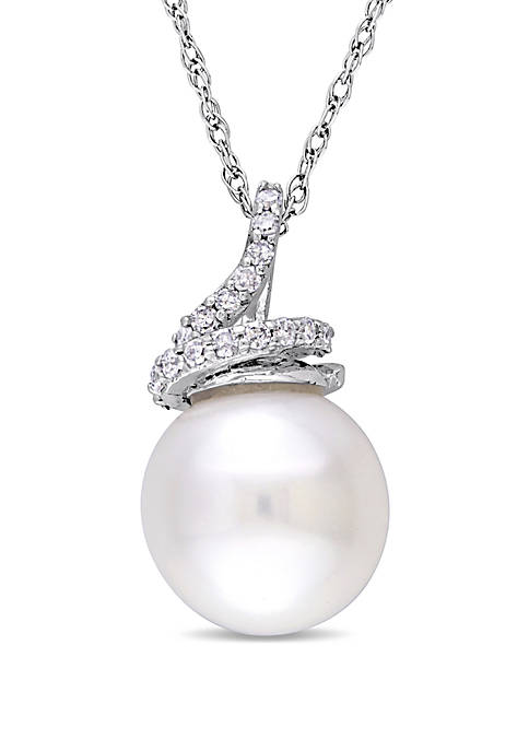 9 mm-9.5 mm Cultured Freshwater Pearl and 1/10 ct. t.w. Diamond Swirl Necklace in 10k White Gold