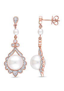 Cultured Freshwater Pearl and 1/2 ct. t.w. Diamond Dangle Earrings in 14k Rose Gold