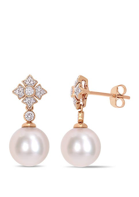 9.5 mm-10 mm Cultured Freshwater Pearl and 1/5 ct. t.w. Diamond Vintage Earrings in 10k Rose Gold