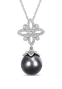 10 mm-10.5 mm Tahitian Cultured Pearl and 1/3 ct. t.w. Diamond Floral Drop Necklace in 14k White Gold