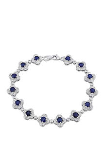 Belk & Co. 5.16 ct. t.w. Sapphire and 1.0 ct. t.w. Diamond Floral Link Bracelet in 14k White Gold