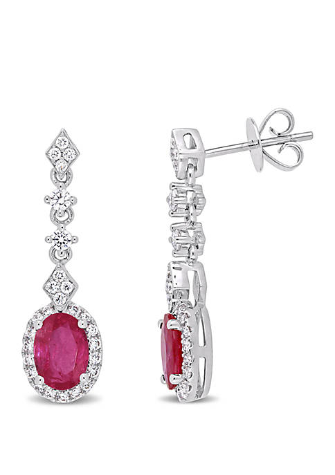 1.88 ct. t.w. Ruby and 2/5 ct. t.w. Diamond Halo Dangle Earrings in 14k White Gold