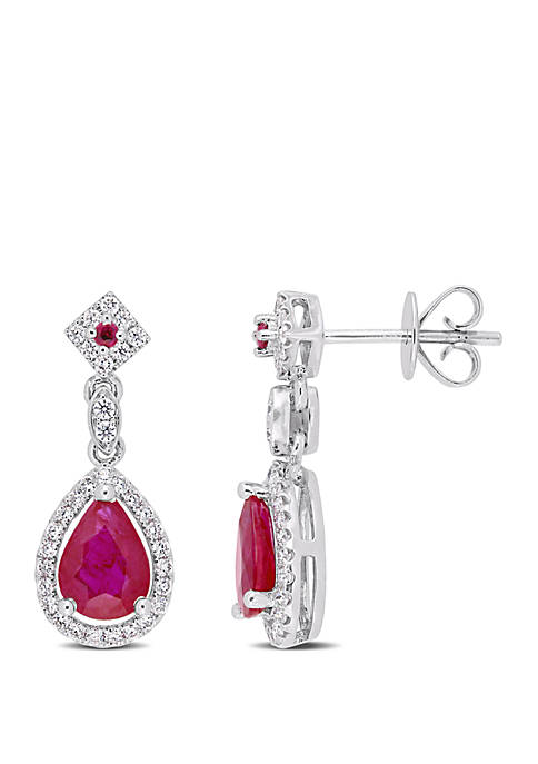 1.75 ct. t.w. Ruby and 1/3 ct. t.w. Diamond Drop Earrings in 14k White Gold