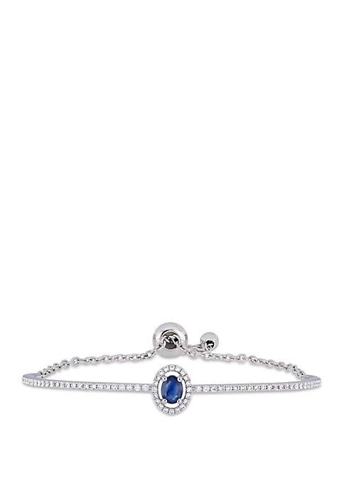 1/2 ct. t.w. Sapphire and 3/5 ct. t.w. Diamond Halo Bolo Bracelet in 18k White Gold
