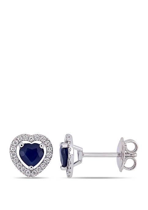 1.13 ct. t.w. Sapphire and 1/5 ct. t.w. Diamond Heart Stud Earrings in 14k White Gold
