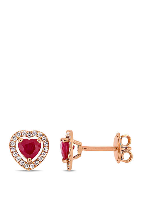 1.0 ct. t.w. Ruby and 1/5 ct. t.w. Diamond Heart Stud Earrings in 14k Rose Gold