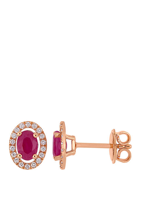 Ruby and 1/5 ct. t.w. Diamond Halo Stud Earrings