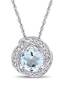 Belk & Co. Blue Topaz and 1/10 ct. t.w. Diamond Swirl Halo Pendant with Chain in 10K White Gold