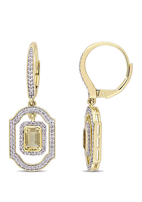Citrine and 3/5 ct. t.w. Diamond Halo Dangle Earrings in 14K Yellow Gold