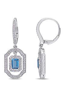 Belk & Co. London-Blue Topaz and 3/5 ct. t.w. Diamond Halo Dangle Earrings in 14K White Gold