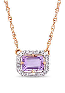 Belk & Co. Amethyst and 1/10 ct. t.w. Diamond Halo Necklace in 14K Rose Gold