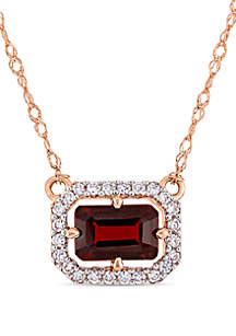 Belk & Co. Garnet and 1/10 ct. t.w. Diamond Halo Necklace in 14K Rose Gold