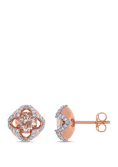1.4 ct. t.w. Morganite and 1/4 ct. t.w. Diamond Stud Earrings in 14k Rose Gold