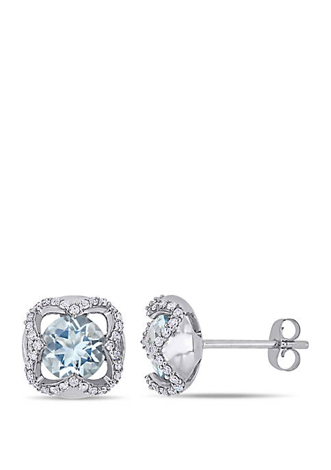 1.5 ct. t.w. Aquamarine and 1/4 ct. t.w. Diamond Stud Earrings in 10k White Gold
