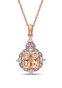 Belk & Co. 2 ct. t.w. Morganite, 1/3 ct. t.w. White Sapphire, and 0.03 ct. t.w. Diamond Accent Halo Vintage Drop Necklace in 14K Rose Gold