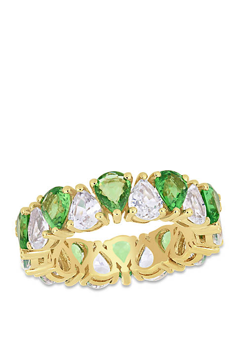 7.8 ct. t.w. Tsavorite and White Sapphire Eternity Ring in 14K Yellow Gold