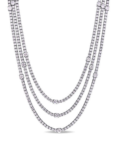 12.1 ct. t.w. Diamond Tiered Multi Row Necklace in 18k White Gold