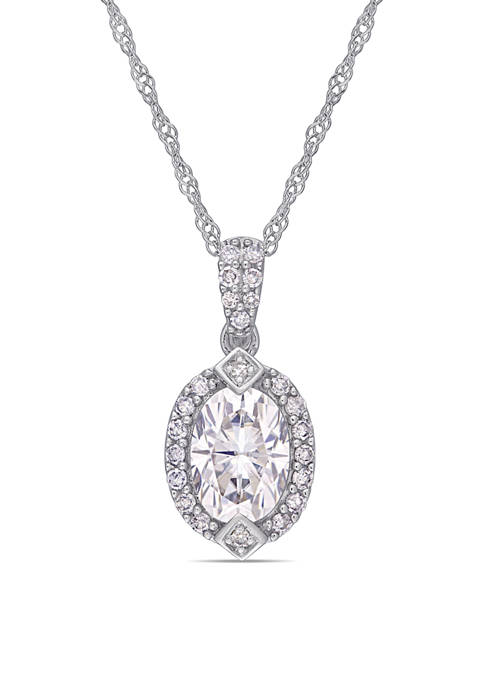 Lab Created 1 ct. t.w. Moissanite and 1/8 ct. t.w. Diamond Oval Halo Pendant with Chain in 10k White Gold