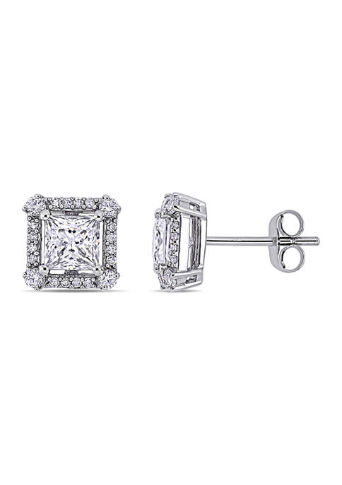 Lab Created 2 ct. t.w. Moissanite and 1/8 ct. t.w. Diamond Princess-Cut Halo Stud Earring in 10k White Gold