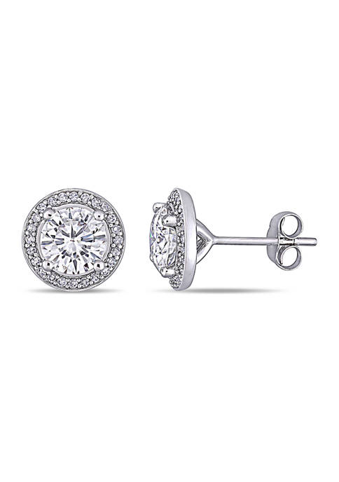 Lab Created 2 ct. t.w. Moissanite and 1/5 ct. t.w. Diamond Halo Stud Earrings in 14k White Gold