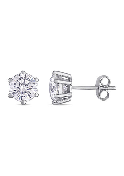 Lab Created 2 ct. t.w. Moissanite Hexagon Stud Earrings in 14k White Gold