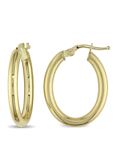 Rounded Hinged Hoop Earrings in Polished 10K Yellow Gold