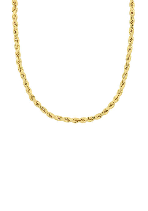 18 Inch Rope Chain Necklace in 10K Yellow Gold
