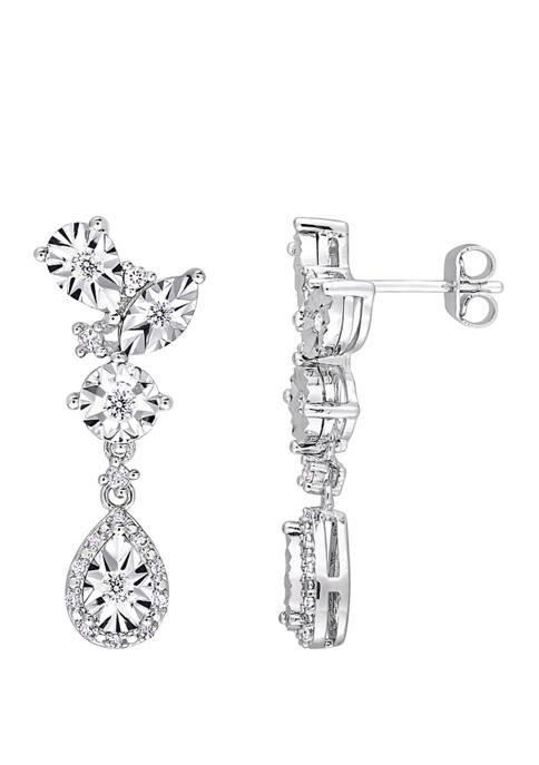 1/3 ct. t.w. Diamond Geometric Dangle Earrings in Sterling Silver