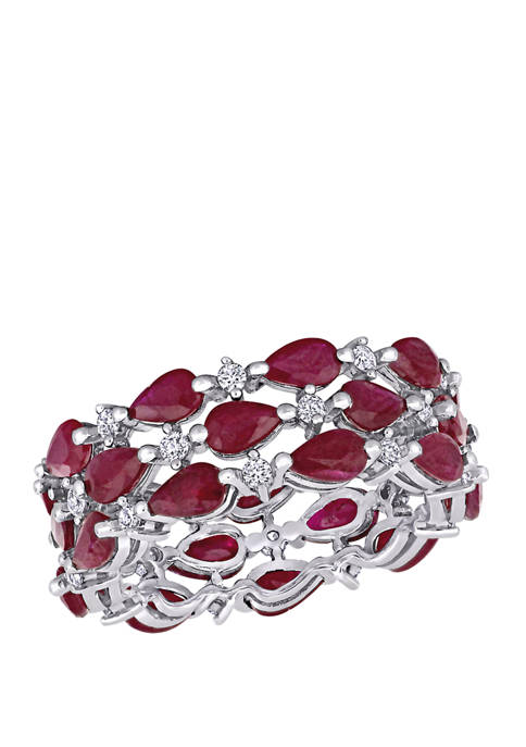 6.75 ct. t.w. Ruby and 1/2 ct. t.w. Diamond 3 Row Cluster Eternity Band in 14K White Gold