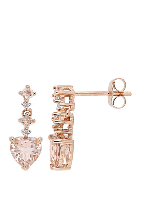 Morganite and Diamond Accent Heart Drop Earrings
