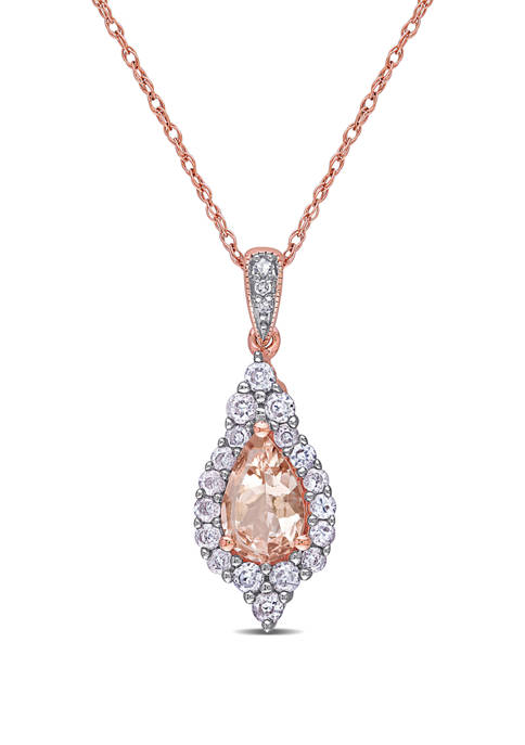 5/8 ct. t.w. Morganite, 1/2 ct. t.w Sapphire, and 1/10 ct. t.w. Diamond Drop Pendant with Chain in 10K Rose Gold