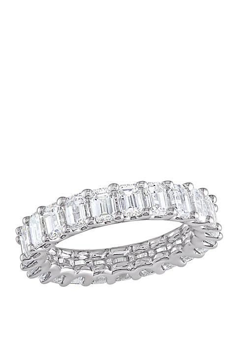 3.75 ct. t.w. Emerald Diamond Eternity Ring in 18k White Gold